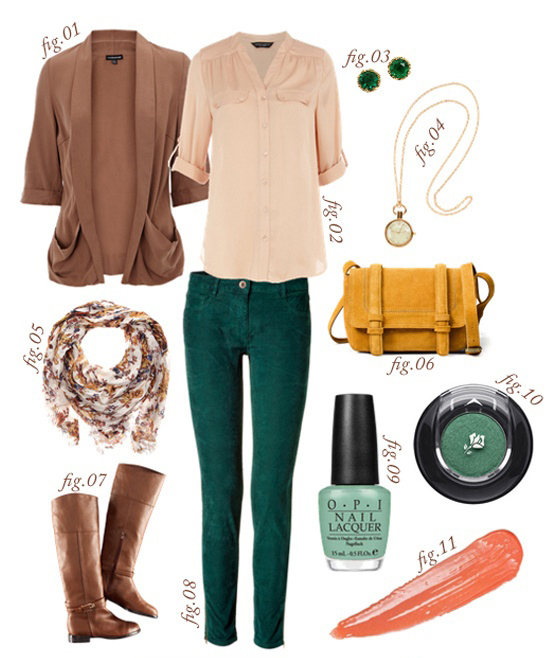 green-dark-skinny-jeans-tan-collared-shirt-camel-cardiganl-cognac-shoe-boots-tan-scarf-print-yellow-bag-necklace-studs-nail-howtowear-fashion-style-outfit-lunch.jpg