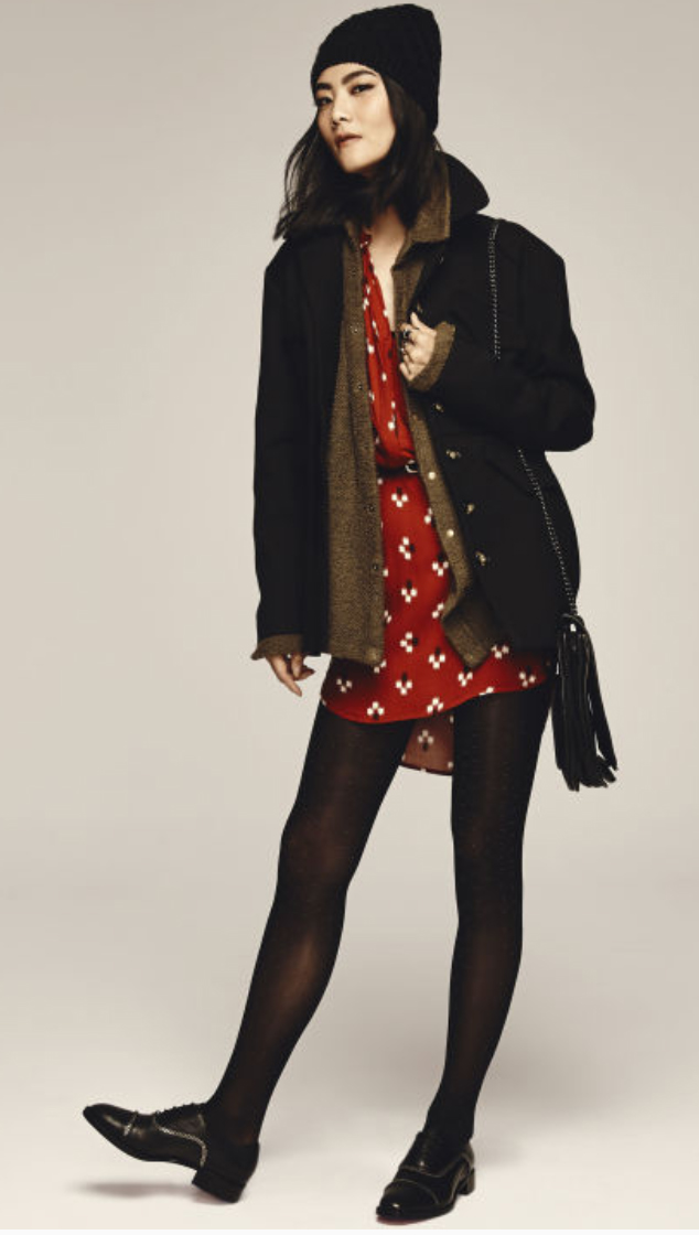 red-dress-zprint-floral-black-jacket-coat-brown-cardiganl-black-shoe-brogues-black-tights-black-bag-beanie-shirt-wear-style-fashion-fall-winter-belt-layer-brunette-weekend.jpg