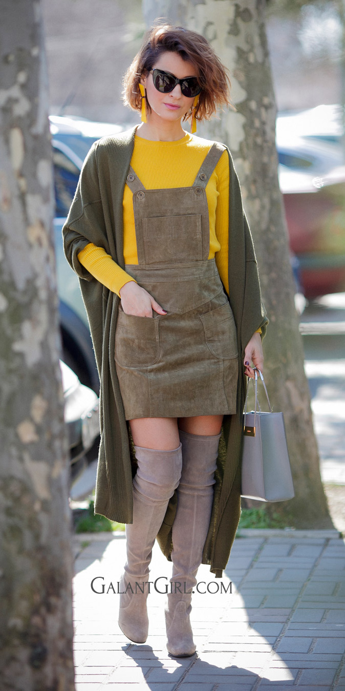 green-olive-dress-jumper-yellow-sweater-sun-hairr-bob-earrings-green-olive-cardiganl-layer-tan-shoe-boots-otk-gray-bag-fall-winter-lunch.jpg
