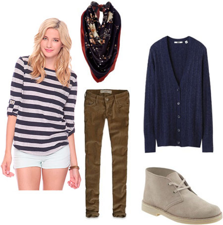 green-olive-skinny-jeans-blue-navy-tee-stripe-blue-navy-cardiganl-white-shoe-booties-black-scarf-howtowear-fashion-style-outfit-blonde-fall-winter-weekend.jpg