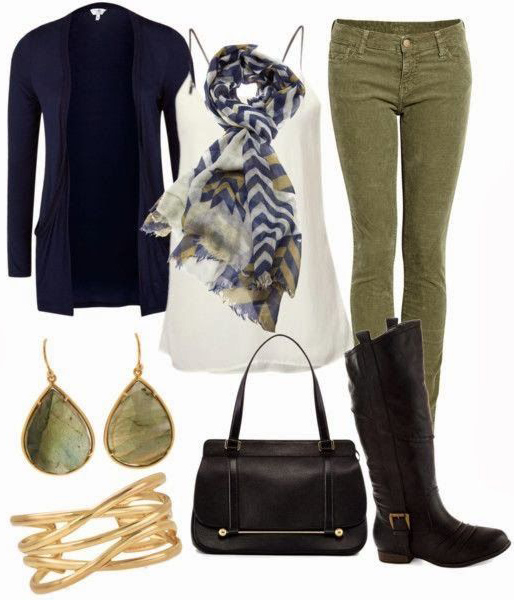 green-olive-skinny-jeans-white-cami-blue-navy-scarf-jewel-earrings-blue-navy-cardiganl-black-shoe-boots-fall-winter-weekend.jpg