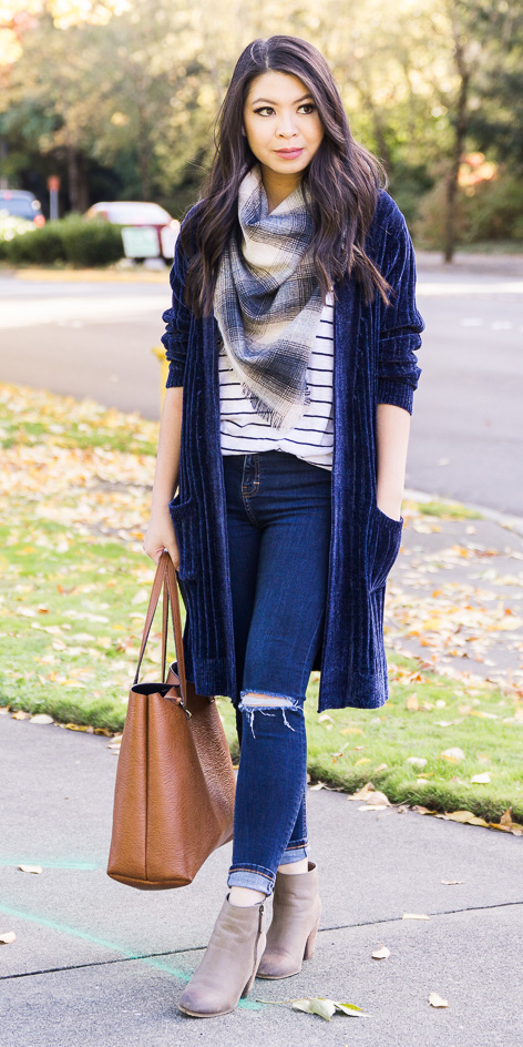 blue-navy-skinny-jeans-blue-navy-scarf-plaid-blue-navy-tee-stripe-blue-navy-cardiganl-cognac-bag-brun-tan-shoe-booties-fall-winter-weekend.jpg