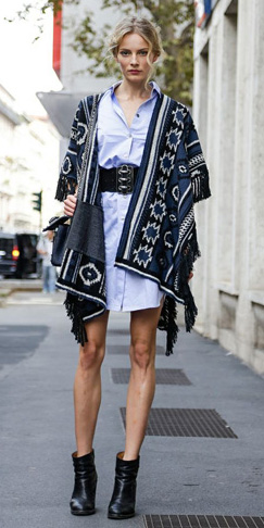 blue-light-dress-shirt-wide-belt-black-shoe-booties-bun-aztec-print-cape-blue-navy-cardiganl-fall-winter-blonde-lunch.jpg