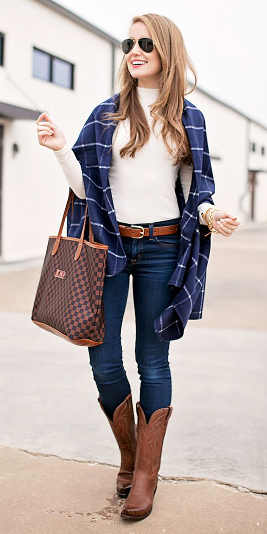 blue-navy-skinny-jeans-white-tee-turtleneck-belt-brown-shoe-boots-cowboy-brown-bag-tote-sun-cape-plaid-blue-navy-cardiganl-fall-winter-hairr-lunch.jpg