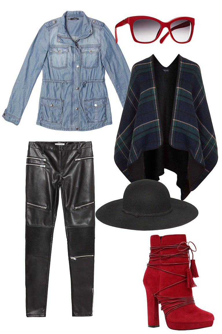 black-skinny-jeans-leather-red-shoe-booties-sun-hat-plaid-cape-blue-light-jacket-utility-blue-navy-cardiganl-fall-winter-lunch.jpg