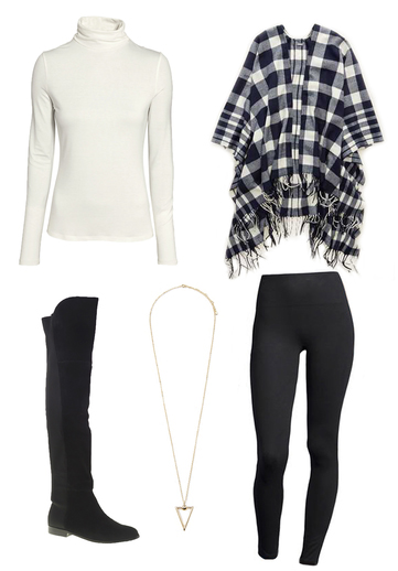 black-leggings-white-tee-turtleneck-blue-navy-cardiganl-cape-plaid-necklace-black-shoe-boots-fall-winter-weekend.jpg