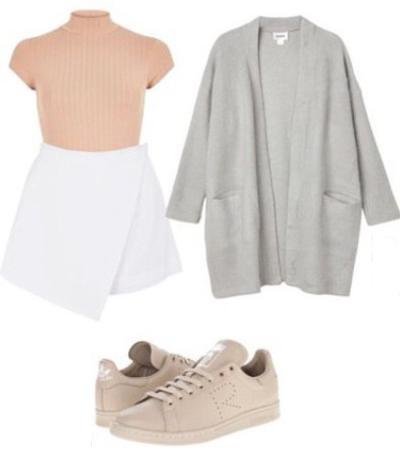 white-mini-skirt-peach-top-mockneck-grayl-cardiganl-tan-shoe-sneakers-spring-summer-weekend.jpg
