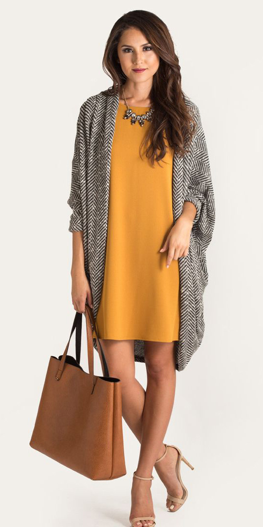 yellow-dress-shift-cognac-bag-tote-tan-shoe-sandalh-necklace-bib-grayl-cardiganl-spring-summer-hairr-work.jpg