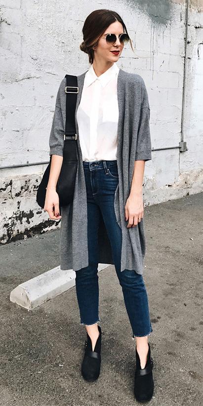 blue-navy-skinny-jeans-white-collared-shirt-hairr-bun-sun-black-shoe-booties-grayl-cardiganl-black-bag-fall-winter-weekend.jpg
