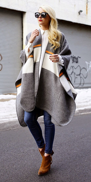 blue-med-skinny-jeans-white-top-blouse-layer-grayl-cardiganl-cape-poncho-cognac-shoe-booties-blonde-fall-winter-stripe-lunch.jpg