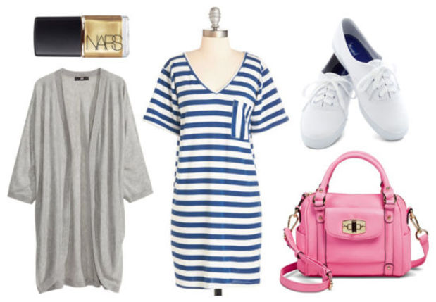 blue-med-dress-zprint-stripe-grayl-cardiganl-white-shoe-sneakers-pink-magenta-bag-howtowear-fashion-style-outfit-spring-summer-tshirt-nail-weekend.jpg