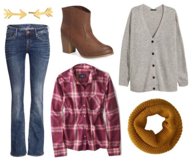blue-med-flare-jeans-r-burgundy-plaid-shirt-grayl-cardiganl-fall-winter-oversized-yellow-scarf-cognac-shoe-booties-studs-weekend.jpg