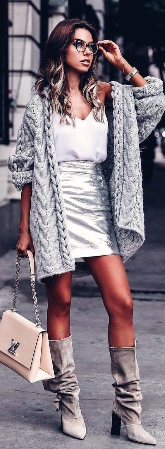 grayl-mini-skirt-silver-metallic-white-cami-grayl-cardiganl-gray-shoe-boots-slouchy-hairr-white-bag-fall-winter-lunch.jpg