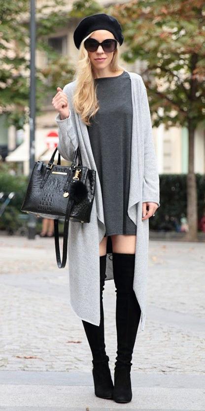 grayd-dress-tshirt-swing-hat-beret-sun-black-bag-black-shoe-boots-otk-grayl-cardiganl-fall-winter-blonde-lunch.jpg
