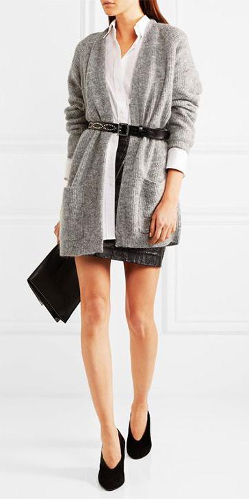 black-mini-skirt-belt-white-collared-shirt-grayl-cardiganl-black-shoe-pumps-fall-winter-dinner.jpg