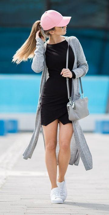 black-dress-bodycon-white-shoe-sneakers-gray-bag-grayl-cardiganl-hat-cap-pony-blonde-spring-summer-weekend.jpg