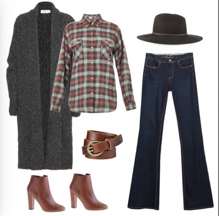 blue-navy-flare-jeans-red-plaid-shirt-grayd-cardiganl-duster-brown-shoe-booties-belt-hat-wear-fashion-style-fall-winter-lunch.jpg