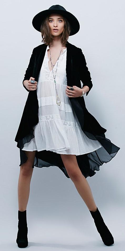 white-dress-peasant-necklace-brun-hat-black-cardiganl-black-shoe-booties-lob-fall-winter-lunch.jpeg