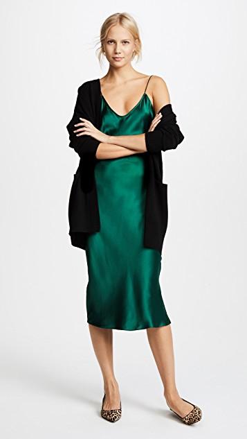 green-dark-dress-slip-black-cardiganl-blonde-bun-tan-shoe-flats-leopard-print-fall-winter-dinner.jpg