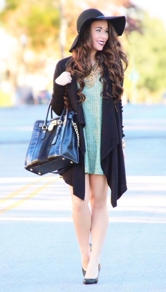 green-light-dress-sweater-black-cardiganl-black-shoe-pumps-bib-necklace-hat-black-bag-tote-fall-winter-brun-lunch.jpg