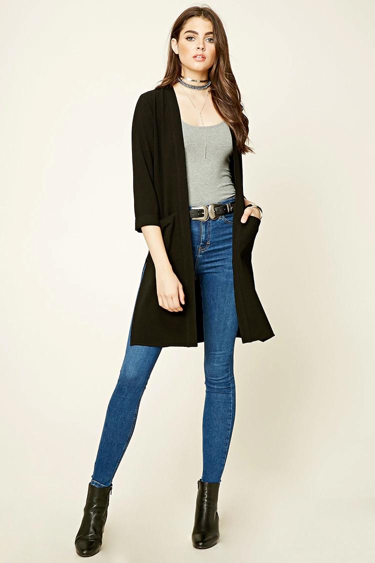 blue-med-skinny-jeans-grayl-tee-wear-outfit-fashion-fall-winter-black-cardiganl-choker-black-shoe-booties-belt-brun-lunch.jpg