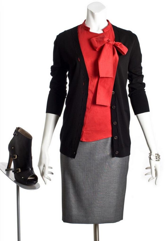 grayl-pencil-skirt-red-top-blouse-bow-howtowear-style-fashion-fall-winter-black-cardiganl-bow-black-shoe-booties-bracelet-work.jpg
