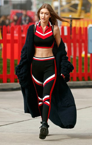black-leggings-gigihadid-stripe-black-crop-top-matchset-black-cardiganl-blonde-black-shoe-booties-athleisure-fall-winter-weekend.jpg