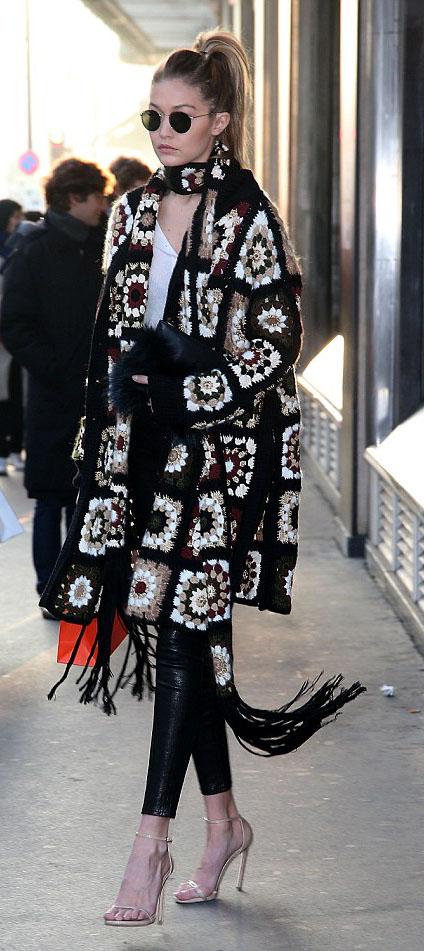 black-leggings-white-tee-black-cardiganl-black-scarf-print-sun-pony-black-bag-clutch-wear-style-fashion-spring-summer-tan-shoe-sandals-leather-gigihadid-celebrity-blonde-lunch.jpg