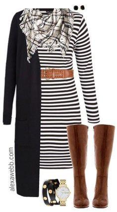 black-dress-stripe-white-scarf-plaid-black-cardiganl-wide-belt-tshirt-studs-cognac-shoe-boots-watch-howtowear-fashion-style-outfit-fall-winter-weekend.jpg