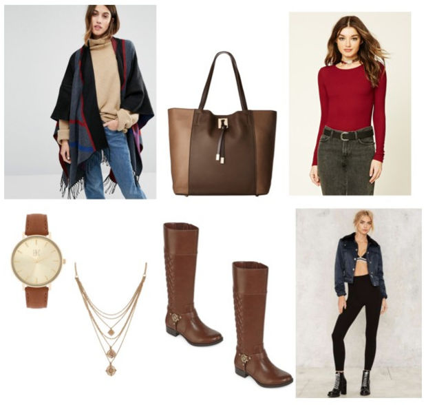 black-leggings-red-tee-black-cardiganl-poncho-brown-shoe-boots-brown-bag-tote-fall-winter-necklace-watch-fringe-hairr-lunch.jpg