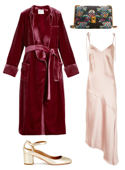 what-to-wear-for-a-summer-wedding-guest-outfit-burgundy-jacket-coat-velvet-robe-black-bag-tan-shoe-pumps-peach-dress-slip-dinner.jpg