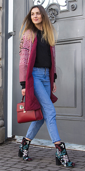 blue-light-skinny-jeans-black-top-blouse-black-shoe-booties-embroidered-trend-red-bag-burgundy-jacket-coat-fall-winter-blonde-lunch.jpg