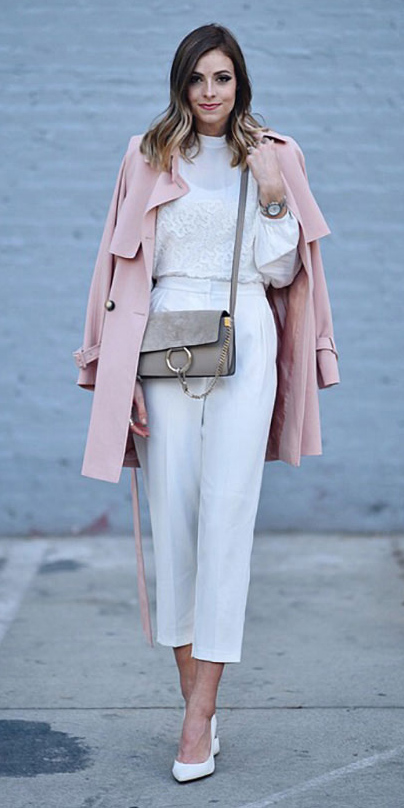 white-slim-pants-gray-bag-blonde-white-top-blouse-white-shoe-pumps-pink-light-jacket-coat-trench-spring-summer-lunch.jpg
