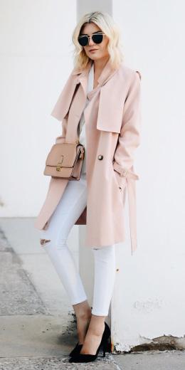 white-skinny-jeans-black-shoe-pumps-sun-pink-bag-trench-pink-light-jacket-coat-fall-winter-blonde-lunch.jpg