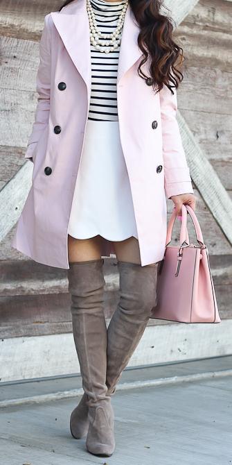 white-mini-skirt-white-tee-stripe-turtleneck-pearl-necklace-pink-brun-tan-shoe-boots-otk-bag-pink-light-jacket-coat-trench-fall-winter-lunch.jpg