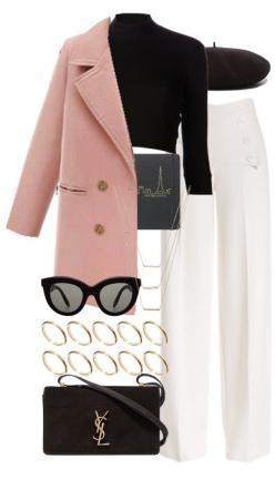 white-wideleg-pants-sun-beret-black-sweater-turtleneck-black-bag-pink-light-jacket-coat-peacoat-fall-winter-lunch.jpg