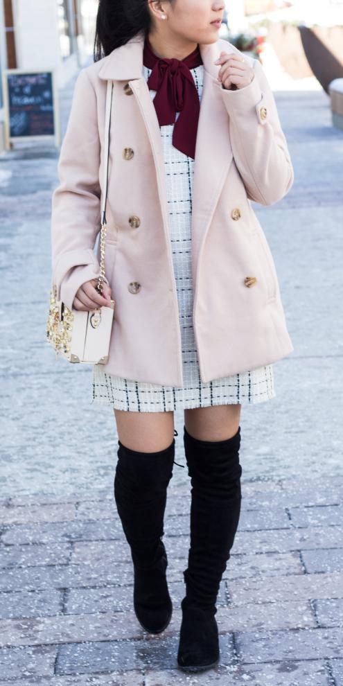 white-dress-mini-tweed-pony-brun-pearl-studs-white-bag-black-shoe-boots-otk-pink-light-jacket-coat-peacoat-fall-winter-lunch.jpg