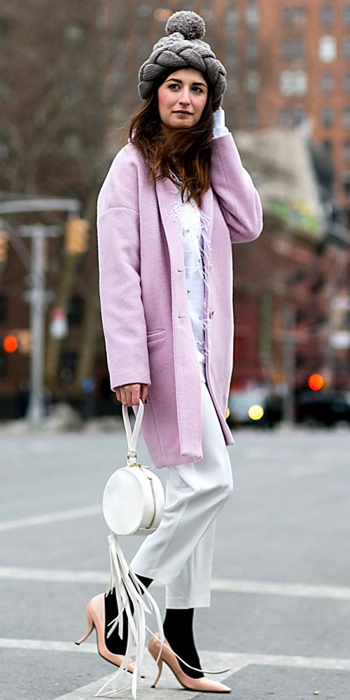 white-slim-pants-black-tights-tan-shoe-pumps-beanie-white-bag-pink-light-jacket-coat-fall-winter-hairr-dinner.jpg