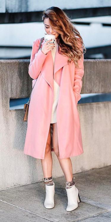 white-dress-bodycon-sweater-pink-light-jacket-coat-socks-white-shoe-booties-spring-summer-hairr-lunch.jpg