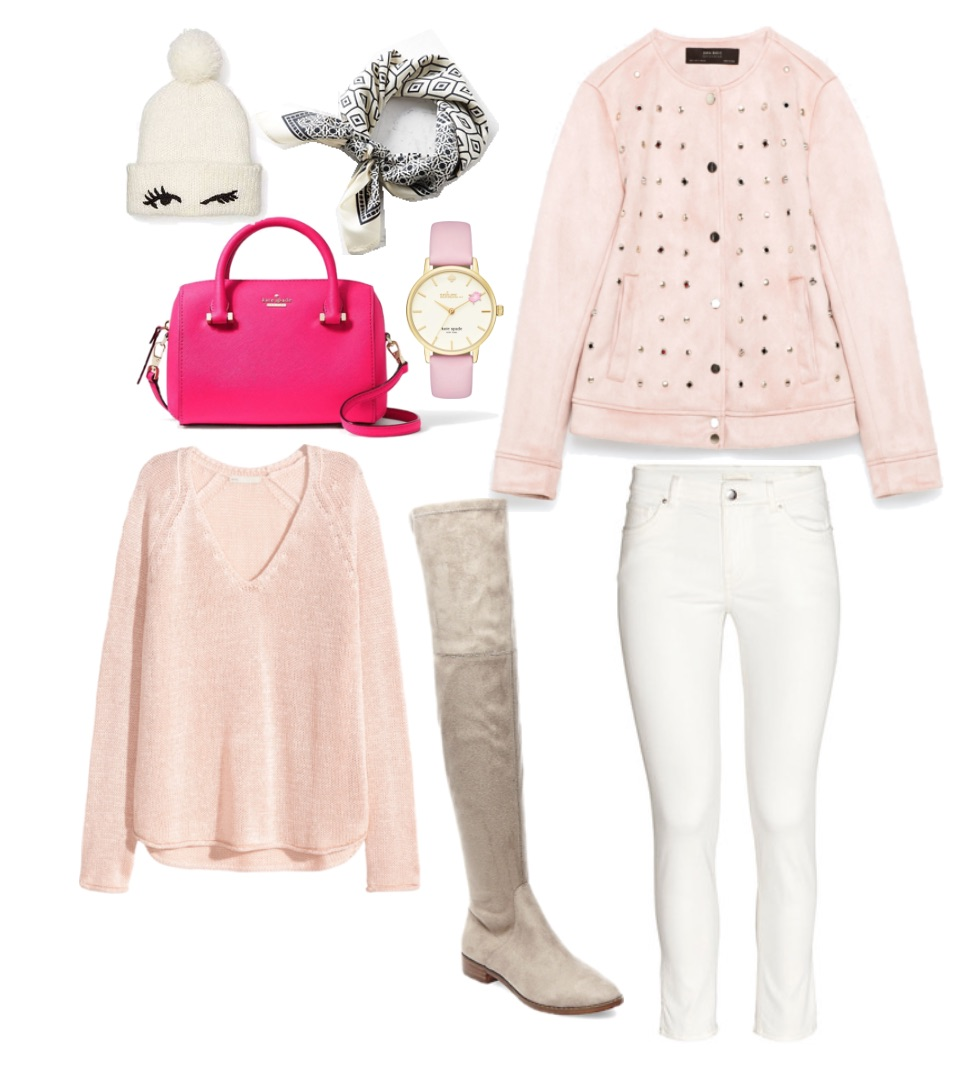 white-skinny-jeans-r-pink-light-sweater-pink-light-jacket-coat-tan-shoe-boots-pink-bag-watch-beanie-white-scarf-neck-bandana-howtowear-fashion-style-outfit-fall-winter-lunch.jpg