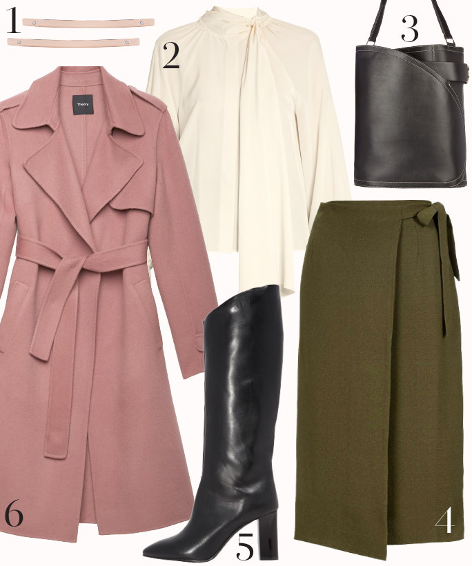 green-olive-midi-skirt-white-top-blouse-pink-light-jacket-coat-wrap-black-bag-howtowear-fashion-style-outfit-fall-winter-bow-black-shoe-boots-work.jpg