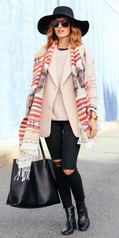 black-skinny-jeans-r-pink-light-sweater-pink-light-jacket-coat-black-bag-tote-sun-howtowear-fashion-style-outfit-fall-winter-rip-red-scarf-hat-black-shoe-booties-layer-hairr-lunch.jpg