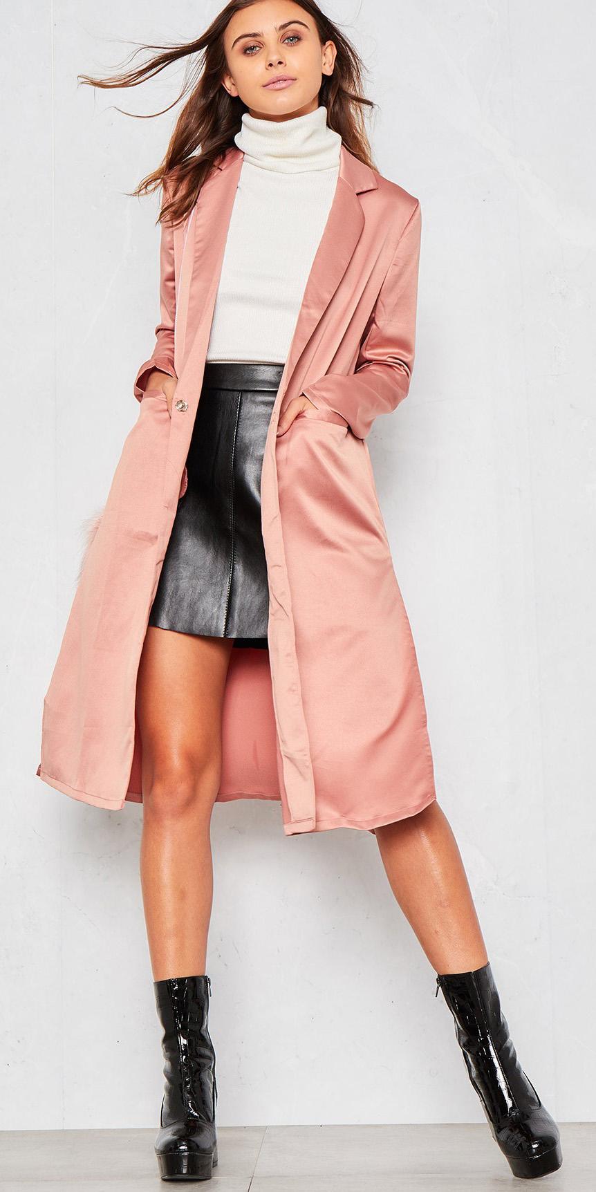 black-mini-skirt-white-sweater-turtleneck-black-shoe-booties-pink-light-jacket-coat-fall-winter-hairr-dinner.jpg
