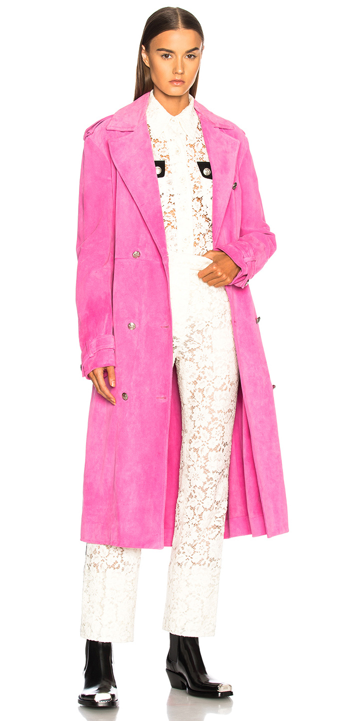 white-slim-pants-lace-black-shoe-booties-hairr-pink-magenta-jacket-coat-trench-fall-winter-lunch.jpg