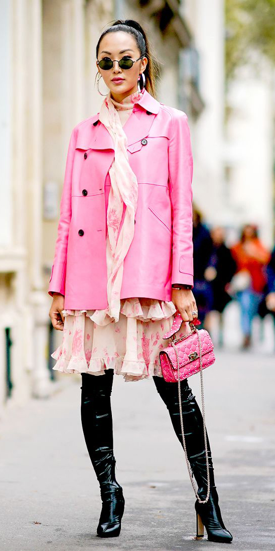 how-to-style-white-dress-peasant-print-pink-magenta-jacket-coat-trench-pink-bag-hairr-pony-hoops-sun-black-shoe-boots-fall-winter-fashion-lunch.jpg