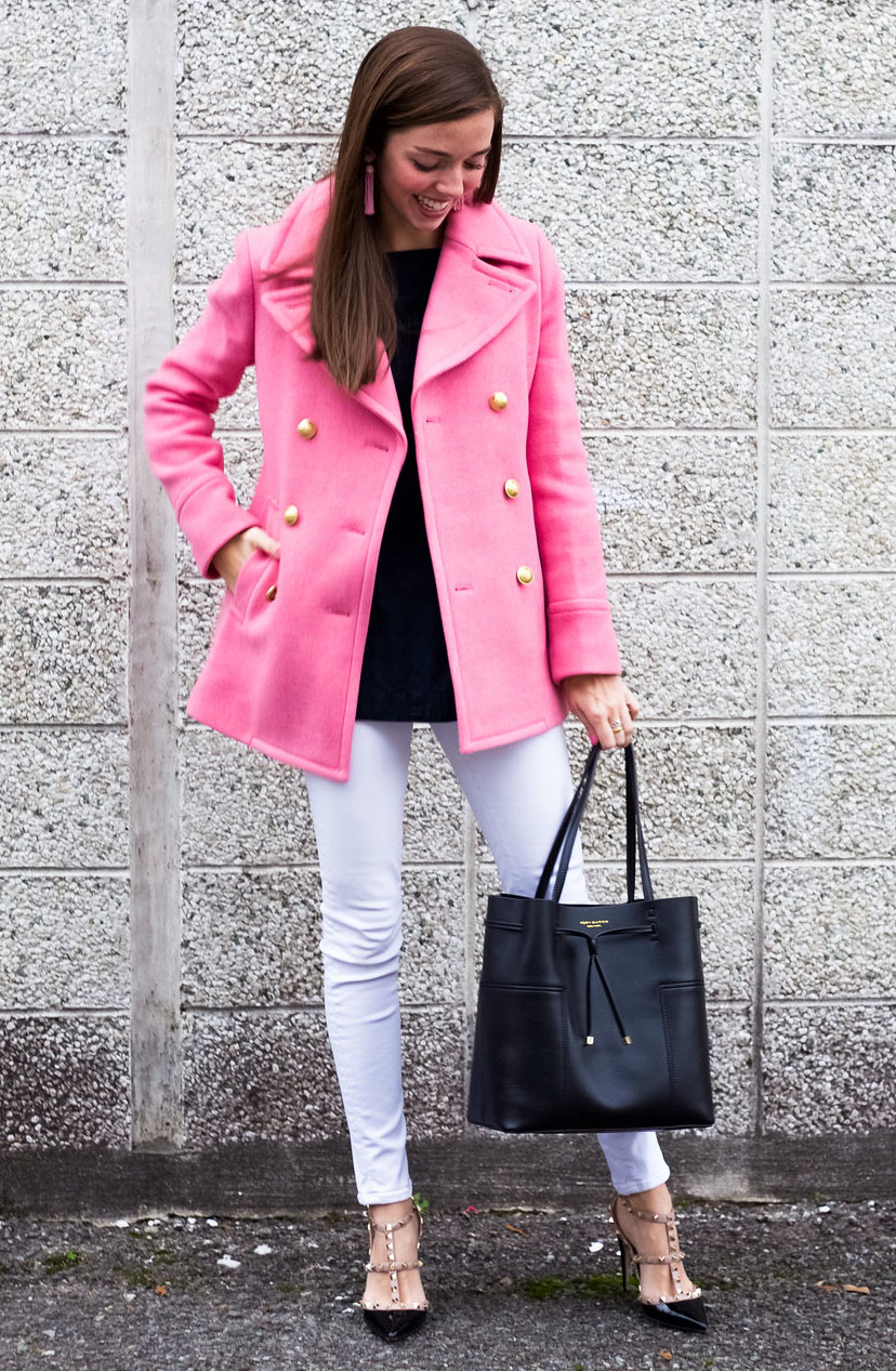 white-skinny-jeans-black-sweater-earrings-black-shoe-pumps-pink-magenta-jacket-coat-peacoat-hairr-black-bag-howtowear-valentinesday-outfit-fall-winter-lunch.jpg