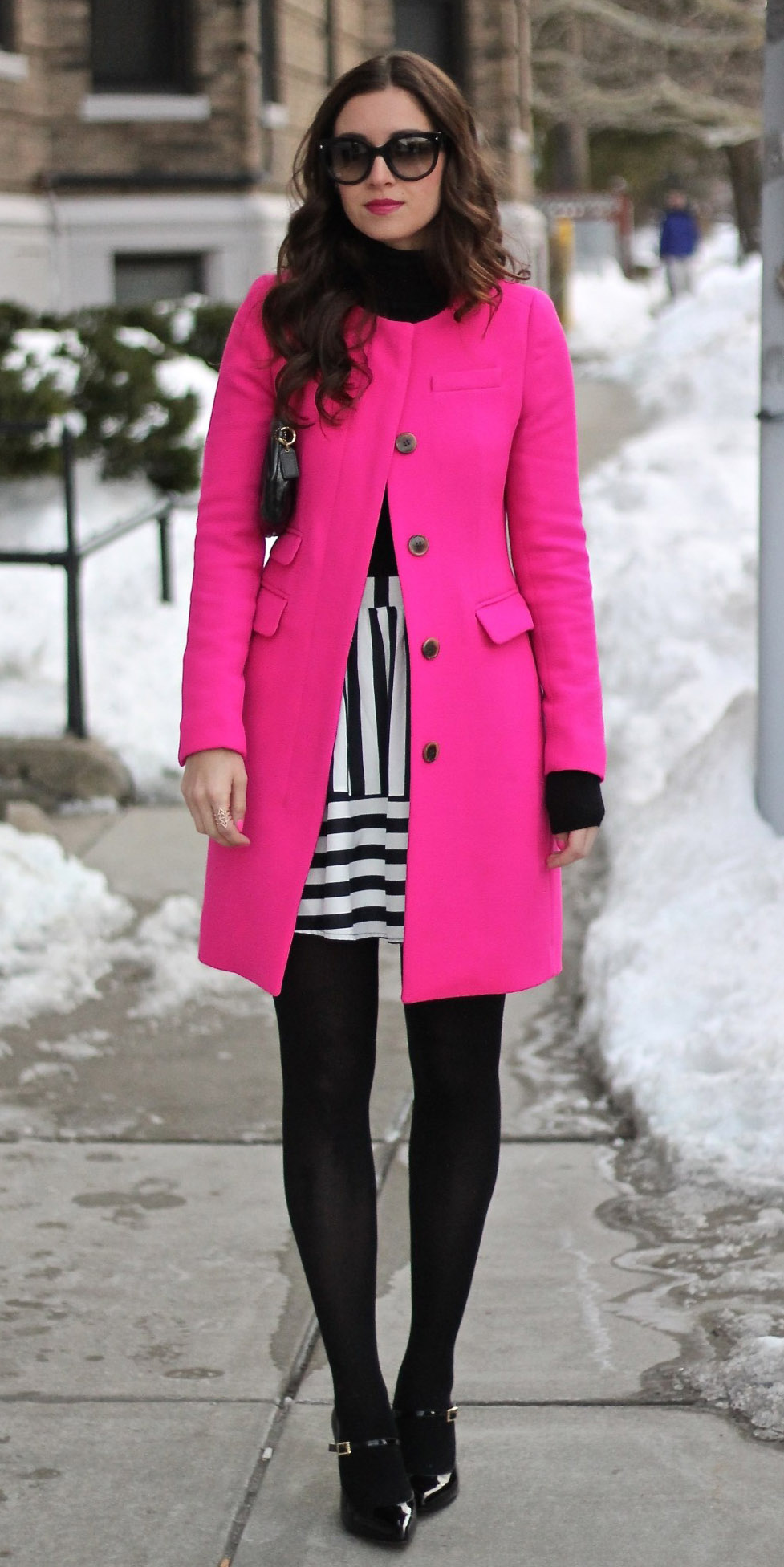white-mini-skirt-stripe-black-sweater-turtleneck-black-tights-black-shoe-pumps-sun-pink-magenta-jacket-coat-fall-winter-brun-dinner.jpg