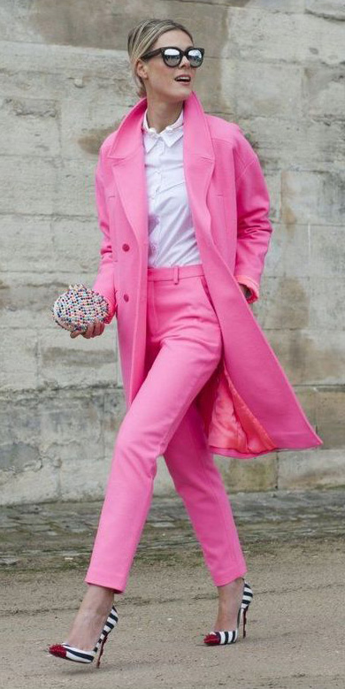 pink-magenta-slim-pants-white-collared-shirt-blonde-bun-sun-white-shoe-pumps-pink-magenta-jacket-coat-spring-summer-dinner.jpg