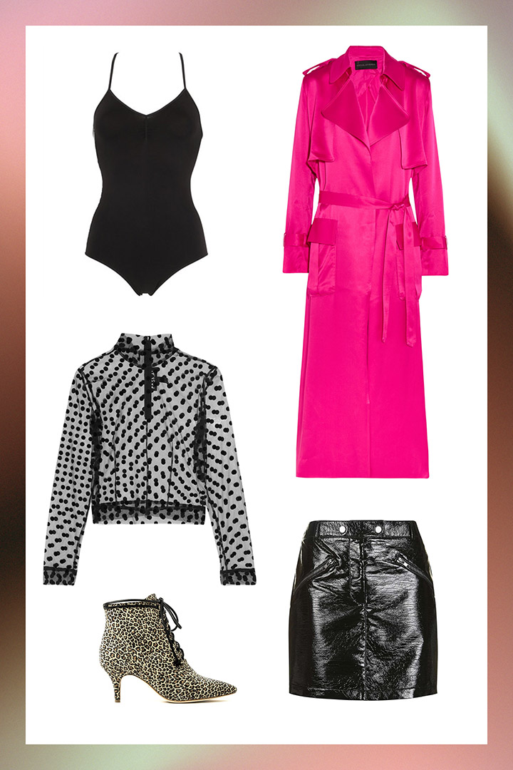 black-mini-skirt-leather-black-tank-bodysuit-dot-print-black-top-sheer-pink-magenta-jacket-coat-trench-tan-shoe-booties-fall-winter-blonde-nye-dinner.jpg