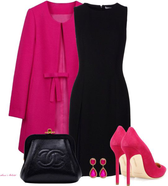 black-dress-pink-magenta-jacket-coat-pink-magenta-shoe-pumps-clutch-fall-winter-aline-shift-lbd-jewel-pink-earrings-work.jpg